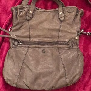 Vintage gray leather crossbody